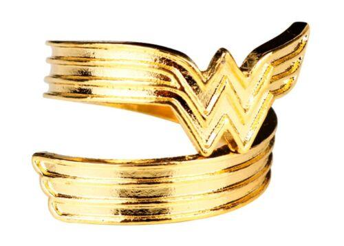 Wonder Woman New Logo Goldtone Finish Ring Adjustable Sizing