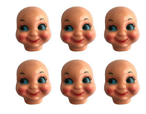 12 Black Dimple Doll Face 4 Inch Plastic Craft Doll Making African American NEW