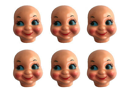 """Lot of 6 Vintage 3/"""" Small Girl Celluloid Plastic Craft Doll Making Faces Masks"""