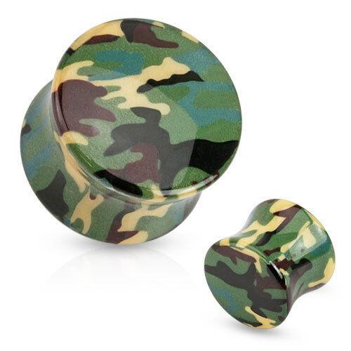 Flesh Tunnel Saddle Fit Plug Camouflage Tarnmuster Print Acryl Ohr Piercing