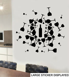 Abstract Wine Bottle & Glass Design - Wall Vinyl Stickers Kitchen ...
