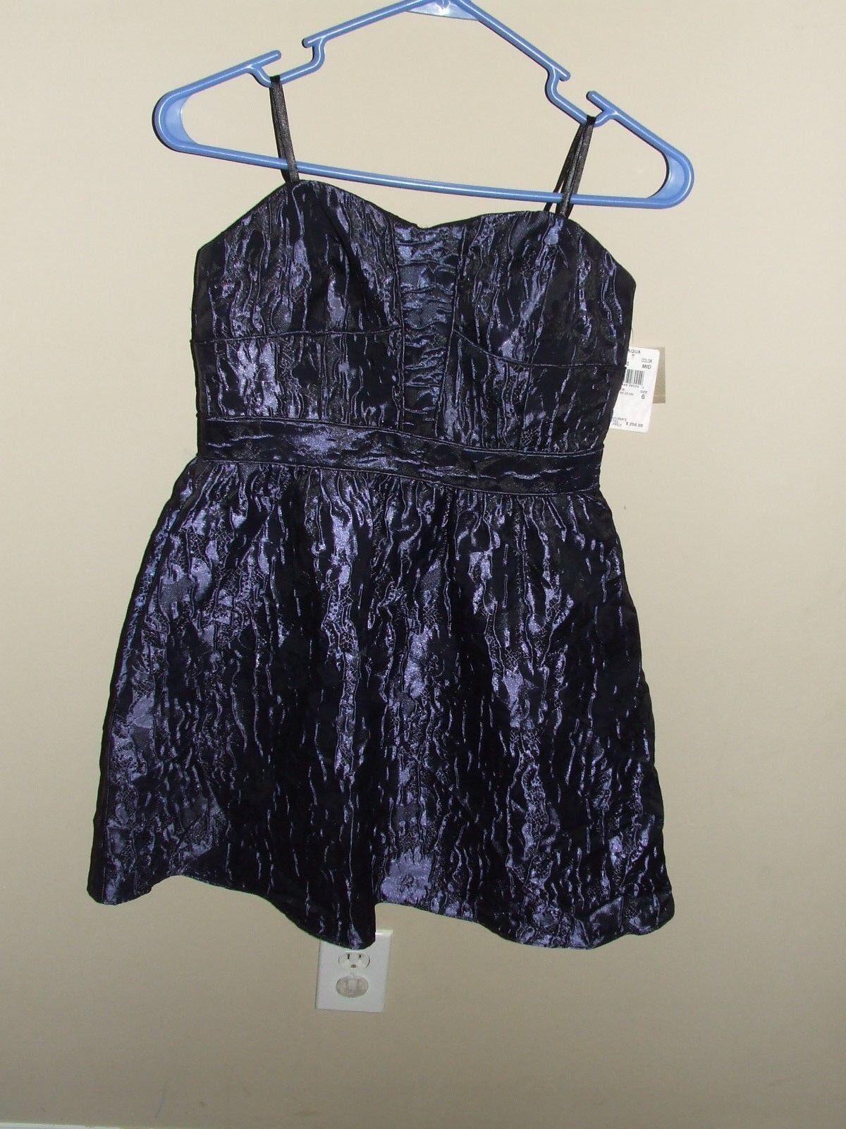 NWT Sz 6  Aidan Mattox Strapless Dress Navy Blau schwarz Fit N Flare Cocktail Form