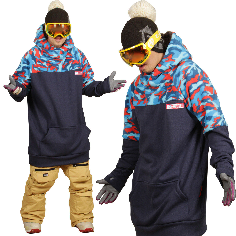 18-19 December long tall hoodie ski snowboard-military navy