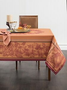 Thanksgiving Tablecloth Yarn Dyed Holiday Linens Turkey Dinner - Thanksgiving-table-cloth