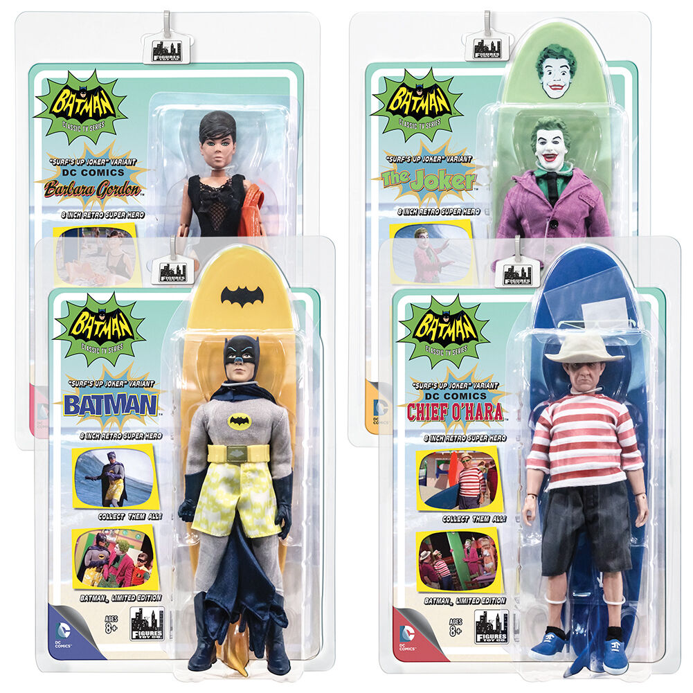 Batman 66 Classic TV Show Retro Style 8 Inch Figures Surfing Series Set of all 4