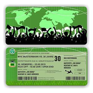 Das Bild Wird Geladen Einladungskarte Geburtstag Fussball Ticket  Eintrittskarte Stadionkarte E14