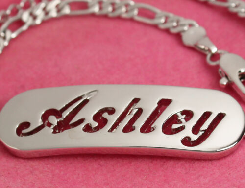 Gifts For Her 18ct White Gold Plated ASHLEY Fashion Bracelet With Name