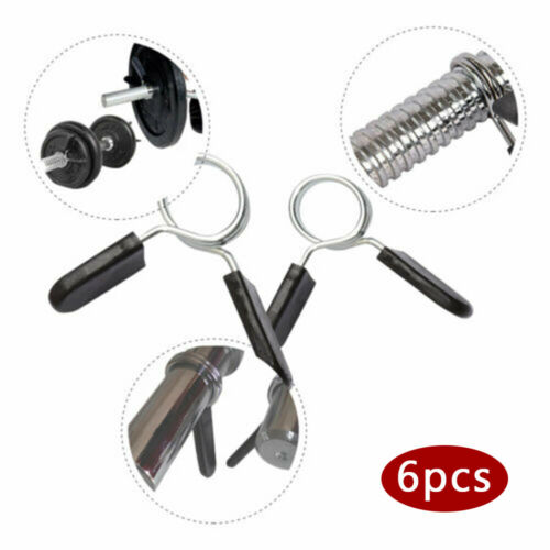 6pcs 25mm 1 Inch Spring Collars Clips Locks Clamps Standard Barbell Dumbbell
