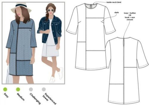Style Arc Ladies Sewing Pattern Jema Panel Shift Dress MLD... Free UK P/&P
