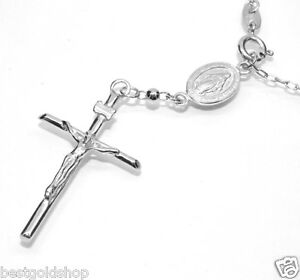 Sterling Silver Rosary Virgin Mary Crucifix Cross 3mm Beads Italy