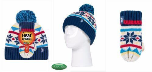 Girls Heat Holders Thermal Tog Winter Warm Hat /& Gloves//Mittens Set Childrens