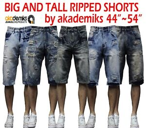BIG AND TALL Denim Jean SHORTS Mens Relaxed Fit BLACK SOLID Raw Denim 44-54