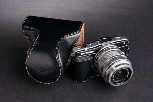 14-42mm Genunie Real Cuero Funda Cámara Completo Bolsa Para Olympus E-PM2 Lente Negro
