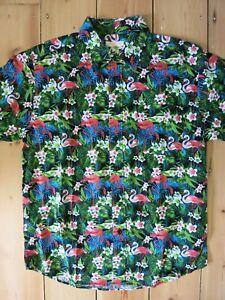 cf87e05d Image is loading Hawaiian-Shirt-Tiki-Flamingo-Palm-Tree-50s-Rockabilly-