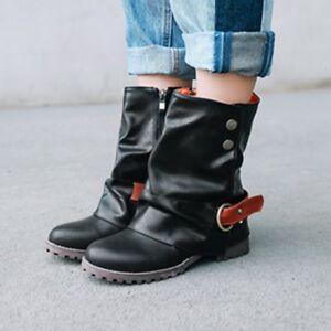 Ladies-Punk-Buckle-Combat-Boots-Low-Heel-Zipper-Cowboy-Motorcycle-Ankle-Boots-Sz