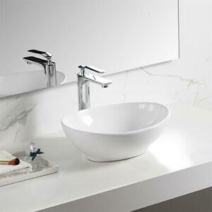 "Sinber 16/"" x 13/"" Oval Ceramic Bathroom Vanity Vessel Sink Above Counter Basin"