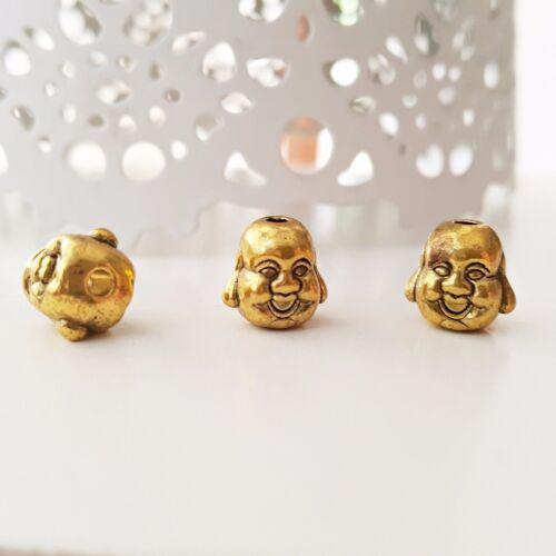 Nellys 5 lots rieur Bouddha Tête Perles Strang Tibet Style or Ø 10x10x9mm