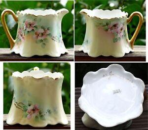 Bavaria-Porcelain-Creamer-Antique-Artist-Signed-1913-Hand-Painted-Wild-Roses