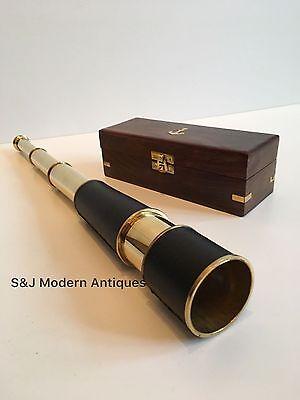 Telescopio De Latón Antiguo Vintage 18 pulgadas mano extendiendo naval Victoriano Pirata