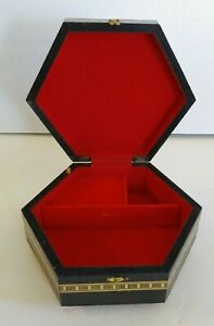 Vintage Music Jewelry Box Octagon Red Velvet Compartments Works