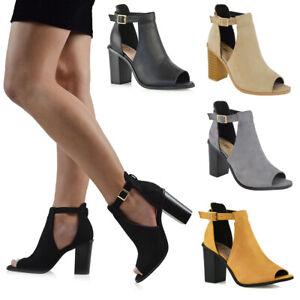 Womens Peep Toe Ankle Strap Chunky