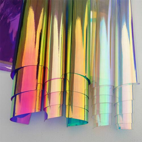 Transparent Clear Holographic Iridescent PVC Fabric Mirror Film Vinyl Bag Craft