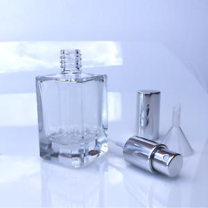 Details zu Parfum Flakon GLAS leer NEU + Trichter 50ml SILBER 506S