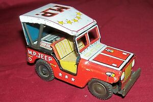 Old-Japanese-Friction-Motor-Tin-Litho-Army-MP-Jeep-Toy-Japan-Vintage-Vehicle-60s