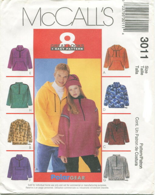 McCalls 3011 Unisex Misses Mens Fleece Pullover Tops & Hat Sewing ...