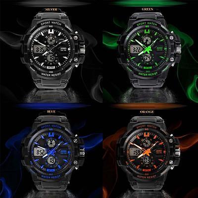 Dual Time Display Men's Multifunction Waterproof Outdoor Sports Wrist Watch BG