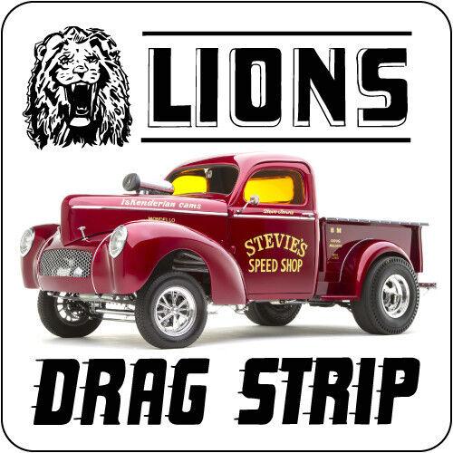 LIONS DRAG STRIP WILLYS TRUCK DRAG RACE HOT RAT ROD DECAL VINTAGE LOOK STICKER