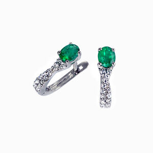 Creolen-Ohrringe-Klappcreolen-Diamanten-14K-Weissgold-AAA-Smaragde-Brillanten-Neu