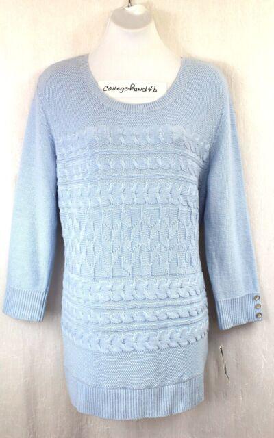 Karen Scott 0812 Size XL Womens Light Blue Cable knit Pullover Sweater