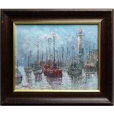 Framed Cornish Fishing Boat Harbour Lighthouse Acryiic Painting Signed Burnett