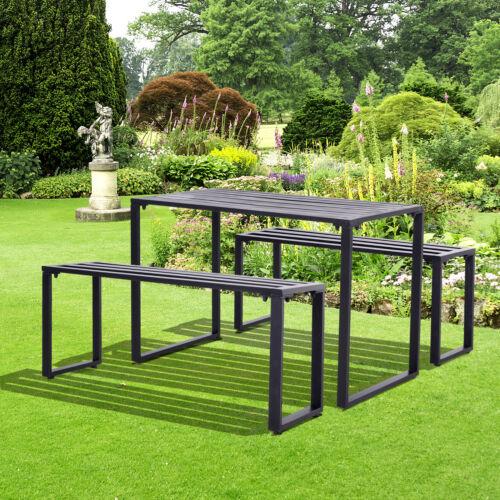 Outsunny Outdoor Tisch-Set Festgarnitur 3-tlg Sitzgruppe Gartengarnitur Metall