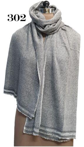 100/%Cashmere Herringbone Grey//Black//Ivory Women/'s//Ladies Scarves//Wrap//Shawls
