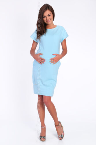 Maternity Shift Dress Short Sleeve Crew Neck Pregnancy Tunic Sizes 8-14 FA384