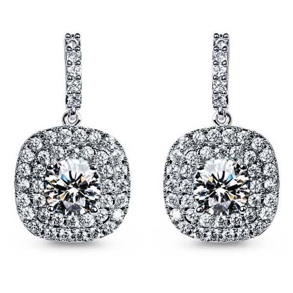 18k White Gold Filled Clear Crystal Women's Wedding Square Drop Earring IE108