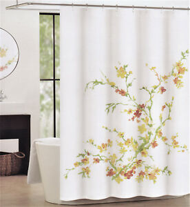 Image Is Loading Tahari Fabric Cotton Blend Shower Curtain Printemps Watercolor