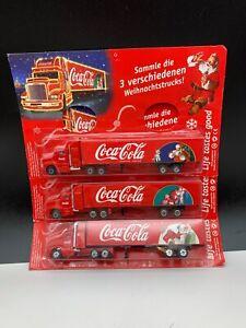 Coca-Cola-Weihnachtstrucks-Truck-3-Pc-Unbenutzt-Top-Condition