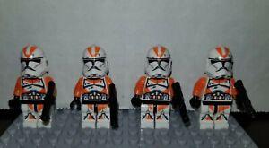 CUSTOM LEGO CLONE TROOPER MINI FIGURES STAR WARS ARMY 8 UTAPAU ORANGE