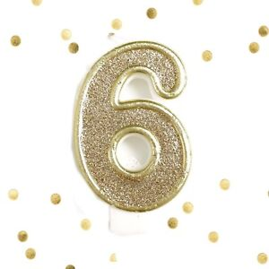 Image Is Loading Light Gold Glitter 6th Birthday Candle Number 6