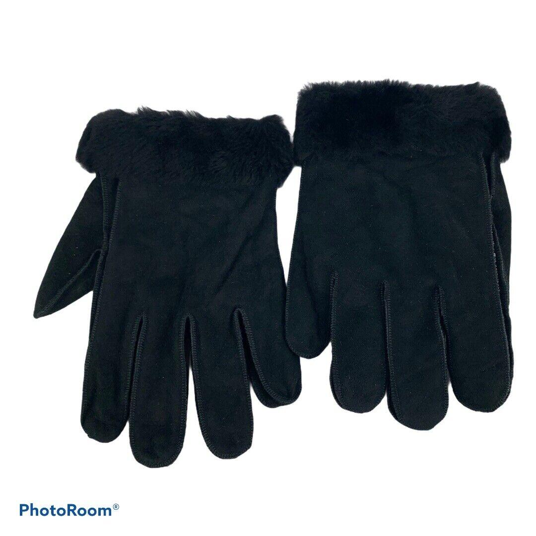 Aston Men's XL Gloves 100% Sherling Suede Black Excellent!