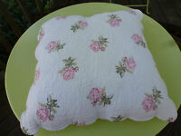 Carole Little Home Pillow 20x20 Pink Roses On White So Very Shabby Chic