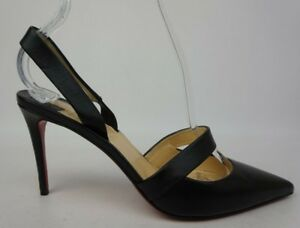 online store d216c 51ead Details about Christian Louboutin Actina Black Leather Slingback Heel Pumps  Women's Size 36.5
