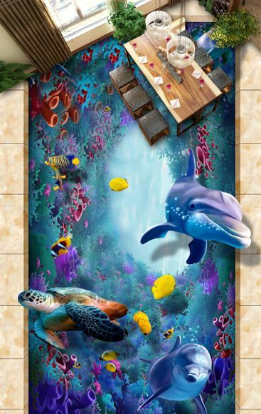 3D fish Ocean water 4656 Floor WallPaper Murals Wall Print Decal 5D AJ WALLPAPER