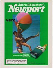 NEWPORT 1987 magazine ad cigarettes advertisement print art friends beach ball