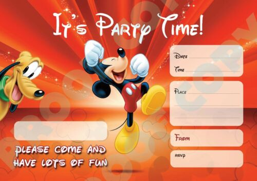 #87 MICKEY MOUSE Pack of 10 kids children birthday party INVITATIONS