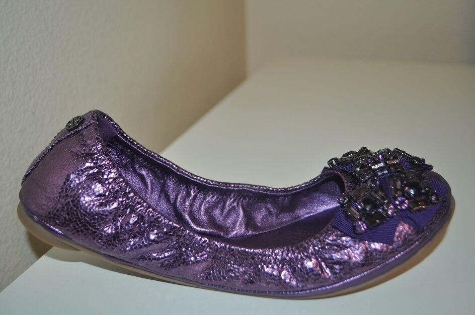 Nuevo    250 Tory Burch Azalea joyas Arco Cuero Púrpura Metálico Pisos Ballet 6.5  ventas de salida