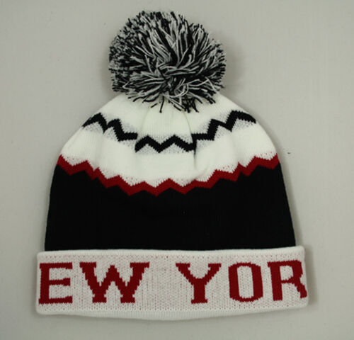 Bnwt-NEW YORK NY Pull On pompon e Pompon kintted Beanie Cap Cappello One Size